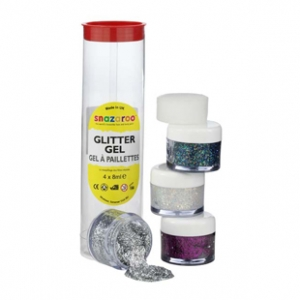 Snazaroo Glitter Gel Tube A  4 x 8ml pots of glitter gels